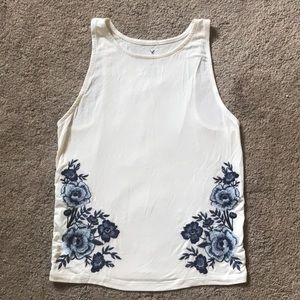 American Eagle embroidered floral tank top